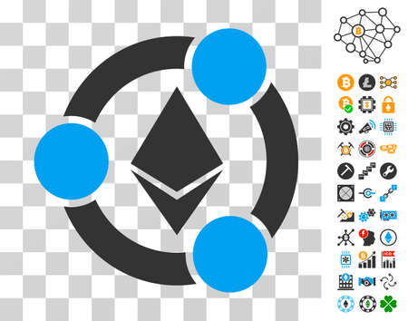 Ethereum Collaboration pictograph with bonus bitcoin mining and blockchain clip art. Vector illustration style is flat iconic symbols. Designed for cryptocurrency software. Illustration