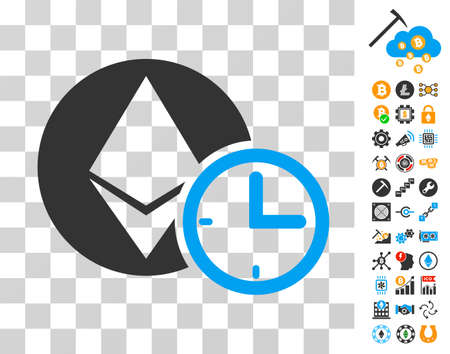 Ethereum Credit Time pictograph with bonus bitcoin mining and blockchain symbols. Vector illustration style is flat iconic symbols. Designed for crypto-currency websites.