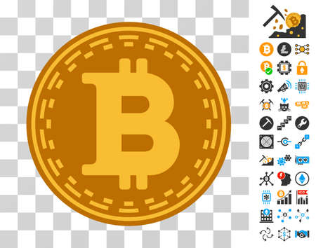 Bitcoin Coin icon with bonus bitcoin mining and blockchain pictographs. Vector illustration style is flat iconic symbols. Designed for cryptocurrency apps.