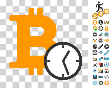 Bitcoin Clock icon with bonus bitcoin mining and blockchain icons. Vector illustration style is flat iconic symbols. Designed for blockchain software.