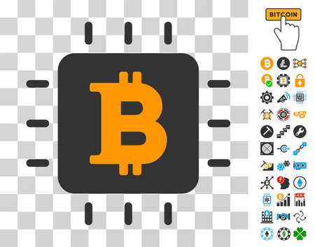 Bitcoin Chip pictograph with bonus bitcoin mining and blockchain pictographs. Vector illustration style is flat iconic symbols. Designed for cryptocurrency websites.