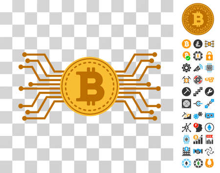 Bitcoin Circuit Links pictograph with bonus bitcoin mining and blockchain pictograms. Vector illustration style is flat iconic symbols. Designed for crypto-currency websites. Illustration