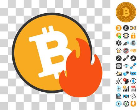Bitcoin Fire icon with bonus bitcoin mining and blockchain clip art. Vector illustration style is flat iconic symbols. Designed for bitcoin websites. Illustration