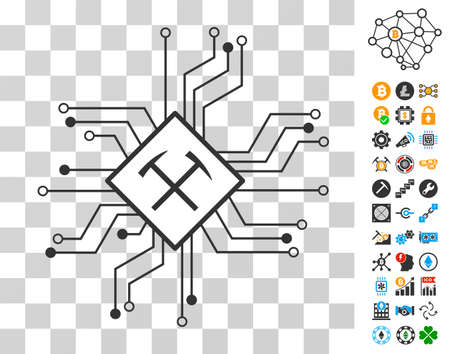 Mining Processor Circuit pictograph with bonus bitcoin mining and blockchain pictograms. Vector illustration style is flat iconic symbols. Designed for cryptocurrency software.