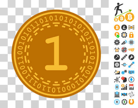 One Digital Coin icon with bonus bitcoin mining and blockchain pictographs. Vector illustration style is flat iconic symbols. Designed for crypto currency apps. Vector Illustration