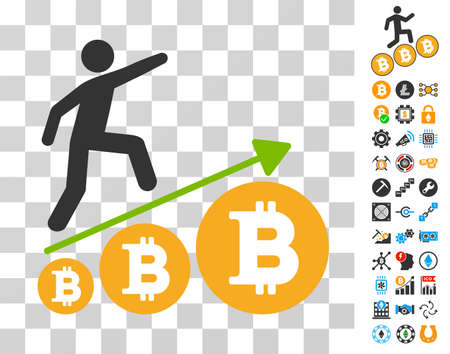 Person Climb Growing Bitcoin pictograph with bonus bitcoin mining and blockchain design elements. Vector illustration style is flat iconic symbols. Designed for blockchain software. Illustration