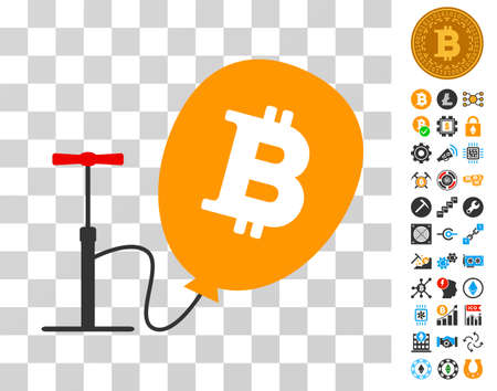 Pump Bitcoin Balloon pictograph with bonus bitcoin mining and blockchain pictograms. Vector illustration style is flat iconic symbols. Designed for cryptocurrency websites.