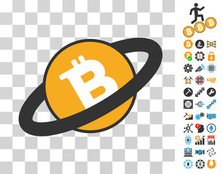 Ringed Bitcoin icon with bonus bitcoin mining and blockchain pictures. Vector illustration style is flat iconic symbols. Designed for bitcoin websites.