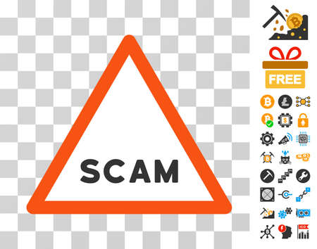 Scam Warning pictograph with bonus bitcoin mining and blockchain symbols. Vector illustration style is flat iconic symbols. Designed for crypto-currency ui toolbars. Illustration