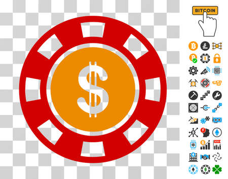 Dollar Casino Chip pictograph with bonus bitcoin mining and blockchain clip art. Vector illustration style is flat iconic symbols. Designed for cryptocurrency ui toolbars.