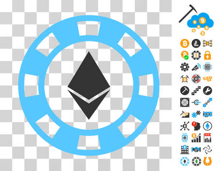 Ethereum Casino Chip icon with bonus bitcoin mining and blockchain pictograms. Vector illustration style is flat iconic symbols. Designed for bitcoin software. Illustration