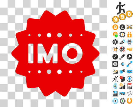 Imo Token icon with bonus bitcoin mining and blockchain pictograms. Vector illustration style is flat iconic symbols. Designed for cryptocurrency ui toolbars.