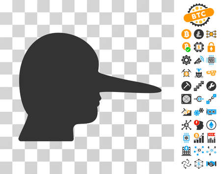 Lier icon with bonus bitcoin mining and blockchain icons. Vector illustration style is flat iconic symbols. Designed for cryptocurrency ui toolbars. Illustration