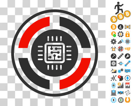 Roulette Processor icon with bonus bitcoin mining and blockchain pictographs. Vector illustration style is flat iconic symbols. Designed for crypto-currency ui toolbars.