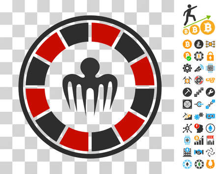 Spectre Casino pictograph with bonus bitcoin mining and blockchain graphic icons. Vector illustration style is flat iconic symbols. Designed for crypto currency websites. Illustration