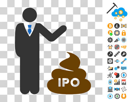 Businessman Show Ipo Shit pictograph with bonus bitcoin mining and blockchain pictograms. Vector illustration style is flat iconic symbols. Designed for crypto-currency websites.