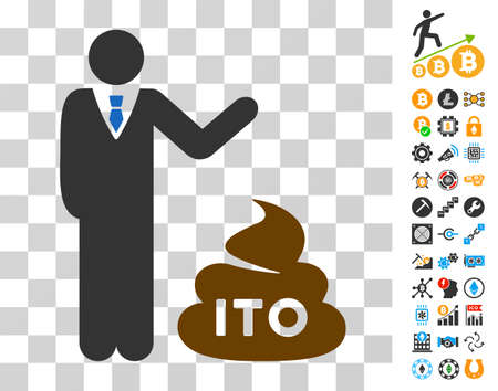 Businessman Show Ito Shit pictograph with bonus bitcoin mining and blockchain clip art. Vector illustration style is flat iconic symbols. Designed for crypto-currency software.