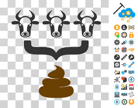 Cow Manure Aggregator Funnel icon with bonus bitcoin mining and blockchain pictures. Vector illustration style is flat iconic symbols. Designed for crypto-currency software.