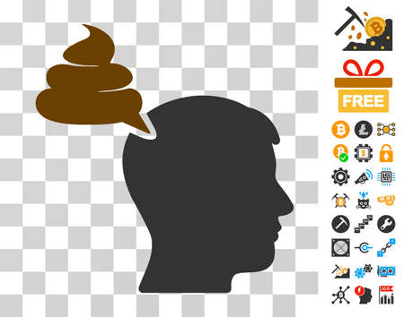 Crap Thinking Person icon with bonus bitcoin mining and blockchain design elements. Vector illustration style is flat iconic symbols. Designed for bitcoin ui toolbars. Illustration