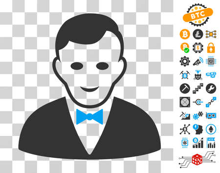 Croupier Manager pictograph with bonus bitcoin mining and blockchain design elements. Vector illustration style is flat iconic symbols. Designed for crypto currency websites. Illustration