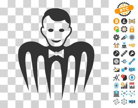 Croupier Monster icon with bonus bitcoin mining and blockchain icons. Vector illustration style is flat iconic symbols. Designed for blockchain ui toolbars.