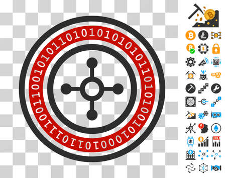 Digital Roulette icon with bonus bitcoin mining and blockchain icons. Vector illustration style is flat iconic symbols. Designed for crypto-currency websites. Illustration