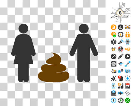 Family Shit icon with bonus bitcoin mining and blockchain pictures. Vector illustration style is flat iconic symbols. Designed for bitcoin apps.