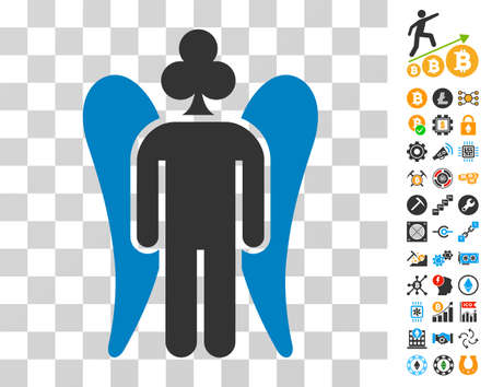Gambling Angel icon with bonus bitcoin mining and blockchain graphic icons. Vector illustration style is flat iconic symbols. Designed for cryptocurrency apps.