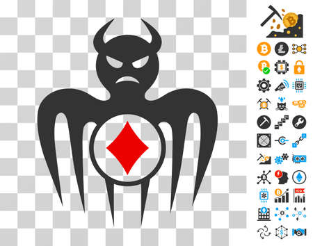 Gambling Spectre Devil pictograph with bonus bitcoin mining and blockchain symbols. Vector illustration style is flat iconic symbols. Designed for blockchain websites. Illustration
