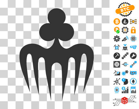 Gambling Spectre Monster pictograph with bonus bitcoin mining and blockchain clip art. Vector illustration style is flat iconic symbols. Designed for crypto-currency ui toolbars.