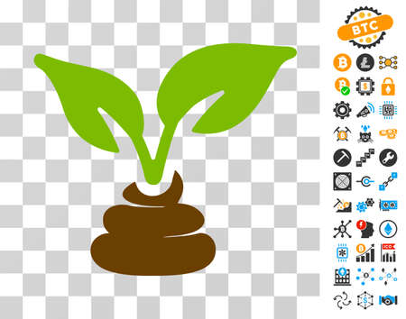 Garden Natural Fertilizer icon with bonus bitcoin mining and blockchain clip art. Vector illustration style is flat iconic symbols. Designed for cryptocurrency websites.
