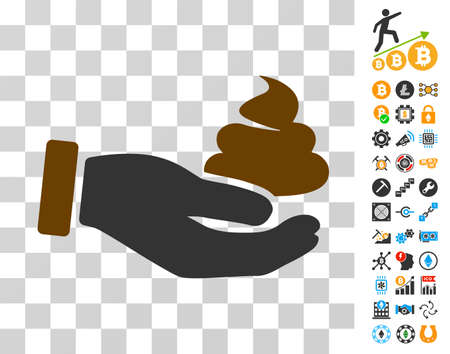 Hand Offer Shit icon with bonus bitcoin mining and blockchain pictograms. Vector illustration style is flat iconic symbols. Designed for blockchain ui toolbars.