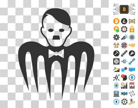 Hitler Croupier Monster icon with bonus bitcoin mining and blockchain clip art. Vector illustration style is flat iconic symbols. Designed for cryptocurrency websites.