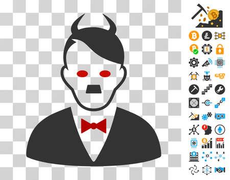 Hitler Devil icon with bonus bitcoin mining and blockchain pictograms. Vector illustration style is flat iconic symbols. Designed for blockchain ui toolbars.