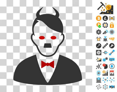 Hitler Devil icon with bonus bitcoin mining and blockchain pictograms. Vector illustration style is flat iconic symbols. Designed for blockchain ui toolbars.