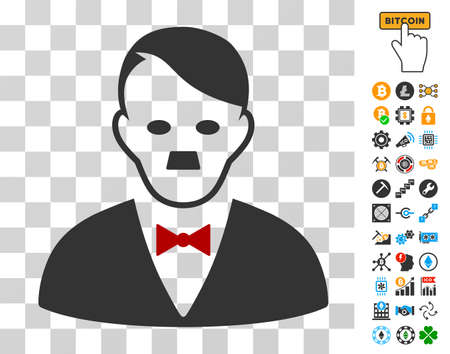 Hitler Manager pictograph with bonus bitcoin mining and blockchain icons. Vector illustration style is flat iconic symbols. Designed for cryptocurrency apps. Illustration