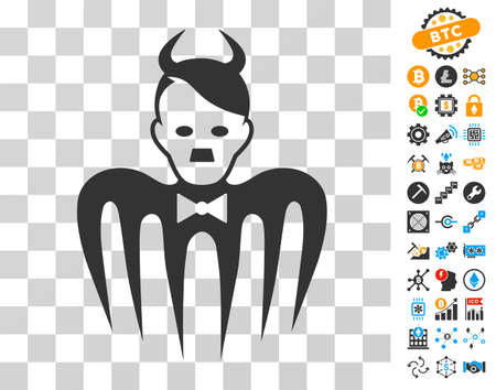 Hitler Spectre Devil icon with bonus bitcoin mining and blockchain pictures. Vector illustration style is flat iconic symbols. Designed for blockchain websites.