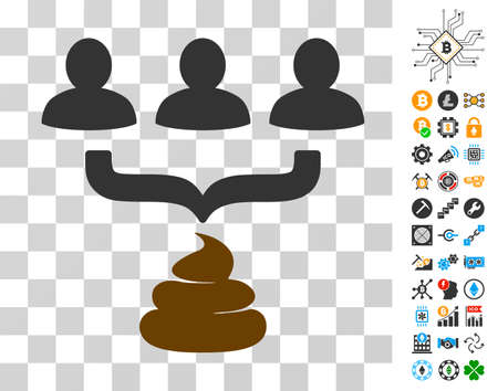 Human Shit Aggregator Funnel pictograph with bonus bitcoin mining and blockchain pictographs. Vector illustration style is flat iconic symbols. Designed for bitcoin websites.