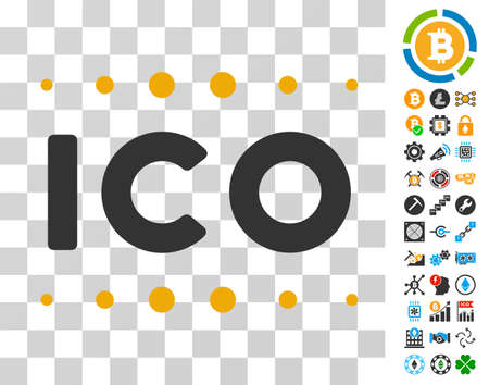 Ico Caption icon with bonus bitcoin mining and blockchain pictograms. Vector illustration style is flat iconic symbols. Designed for blockchain software.
