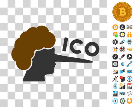 Ico Lier pictograph with bonus bitcoin mining and blockchain graphic icons. Vector illustration style is flat iconic symbols. Designed for crypto currency apps. Ilustracja