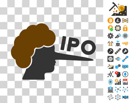 Ipo Lier icon with bonus bitcoin mining and blockchain images. Vector illustration style is flat iconic symbols. Designed for blockchain websites.
