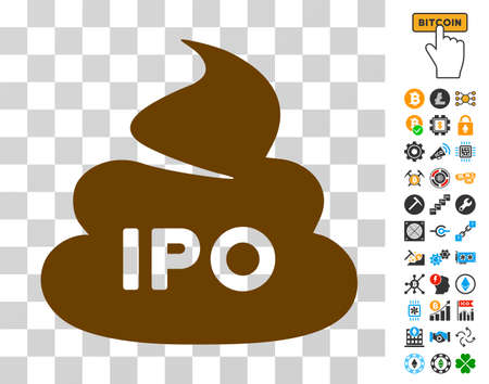 Ipo Shit icon with bonus bitcoin mining and blockchain pictures. Vector illustration style is flat iconic symbols. Designed for crypto currency websites.