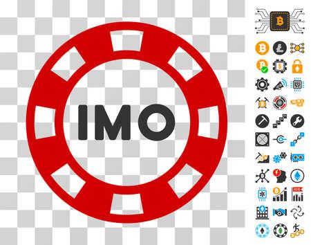 Imo Token icon with bonus bitcoin mining and blockchain design elements. Vector illustration style is flat iconic symbols. Designed for bitcoin websites. Illustration