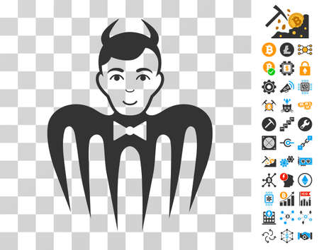 Manager Spectre Devil icon with bonus bitcoin mining and blockchain symbols. Vector illustration style is flat iconic symbols. Designed for crypto currency software. Illustration