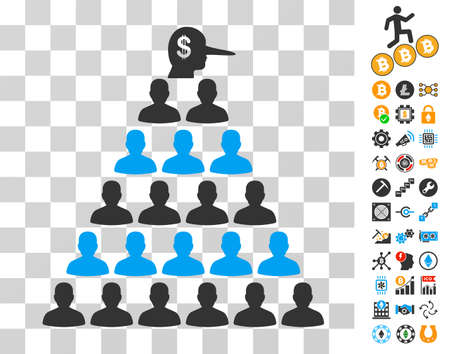 Ponzi Pyramid Manager pictograph with bonus bitcoin mining and blockchain pictures. Vector illustration style is flat iconic symbols. Designed for crypto currency software.