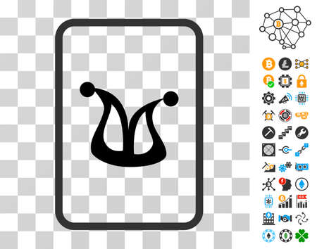 Joker Gaming Card pictograph with bonus bitcoin mining and blockchain clip art. Vector illustration style is flat iconic symbols. Designed for blockchain software.
