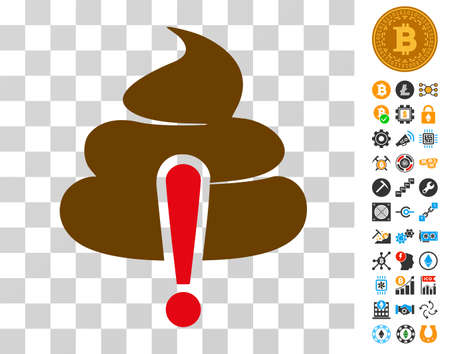Shit Caution icon with bonus bitcoin mining and blockchain graphic icons. Vector illustration style is flat iconic symbols. Designed for bitcoin ui toolbars.