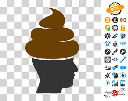 Shit Guy pictograph with bonus bitcoin mining and blockchain images. Vector illustration style is flat iconic symbols. Designed for cryptocurrency ui toolbars. Illustration