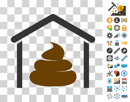 Shit Storage Hangar icon with bonus bitcoin mining and blockchain pictograms. Vector illustration style is flat iconic symbols. Designed for crypto currency apps.