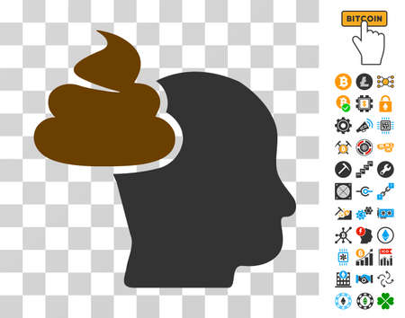 Shit Thinking Head icon with bonus bitcoin mining and blockchain pictograms. Vector illustration style is flat iconic symbols. Designed for crypto currency websites.